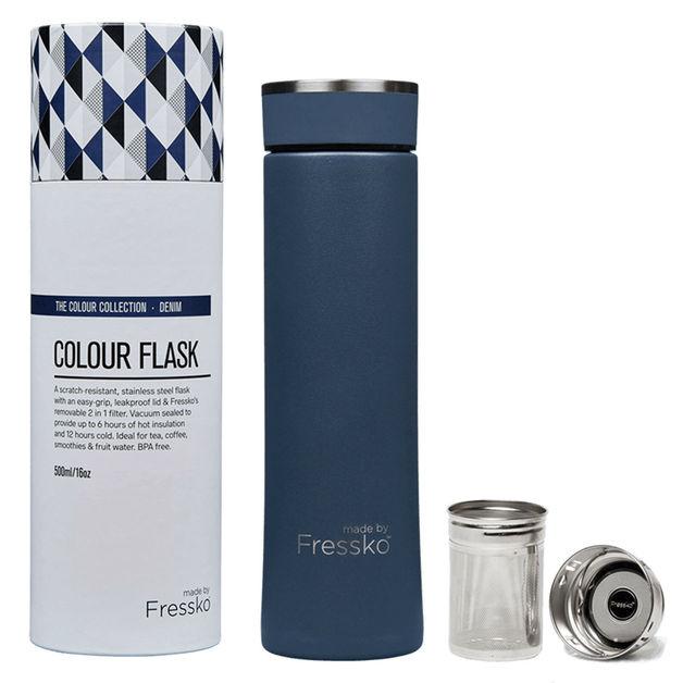 Fressko Coloured Collection Flask - Denim (500ml)