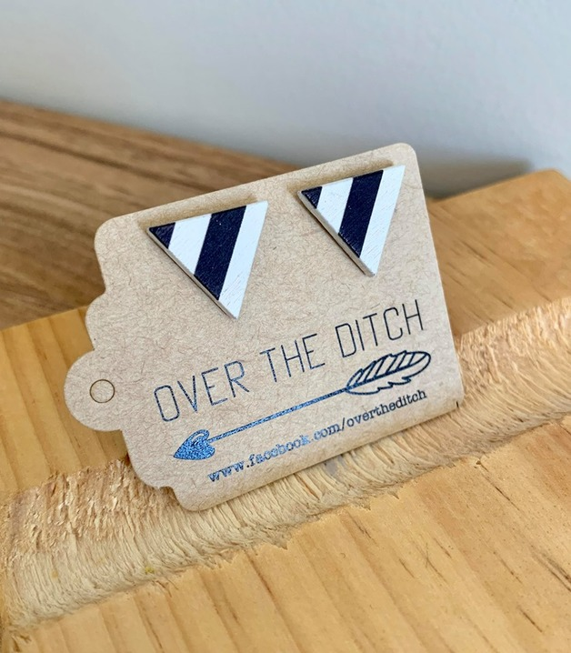Over the Ditch: Dome Earrings - Nautical Triangles
