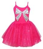 Pink Poppy: Sparkle Large Bow Dress (Size 3/4) - Hot Pink