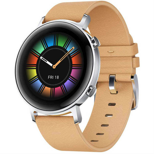 Huawei Watch GT 2 42mm Smart Watch - Classic Edition with Beige Leather Strap