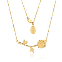 Disney Beauty and the Beast Rose Necklace - Yellow Gold