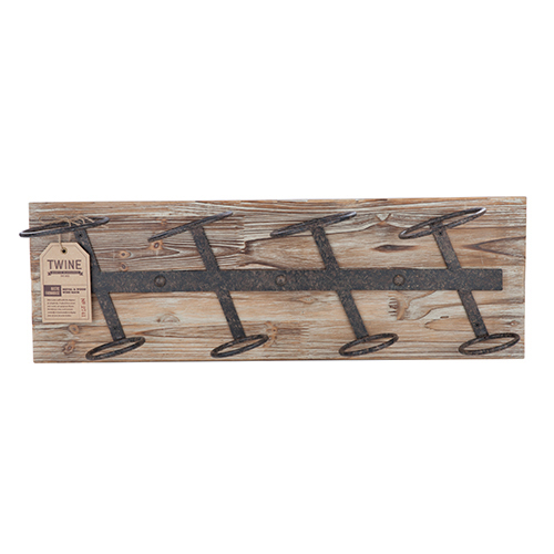 Rustic Farmhouse: Metal & Wood Wine Rack