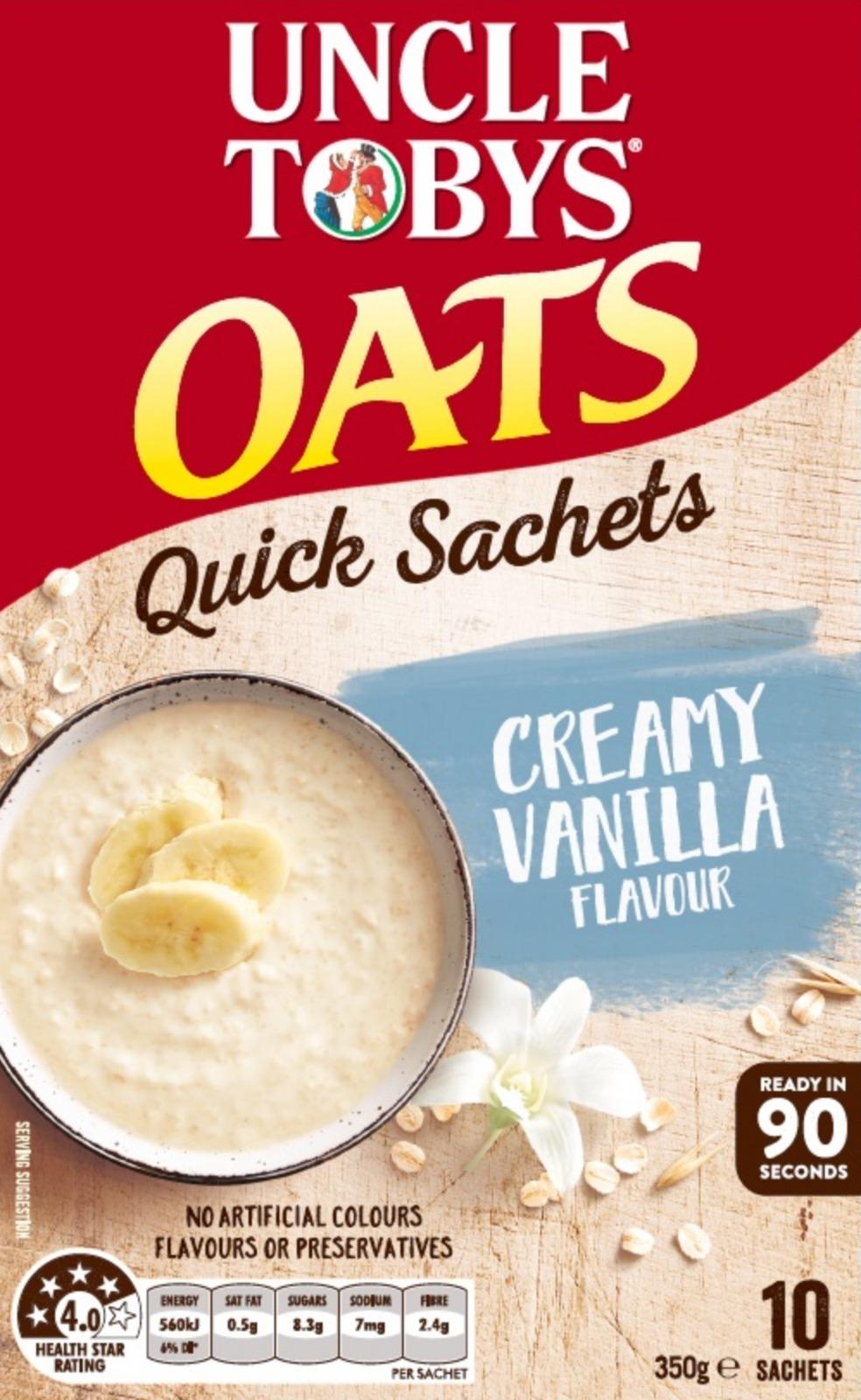 Uncle Tobys Oats (Creamy Vanilla, 350g) 5pk image
