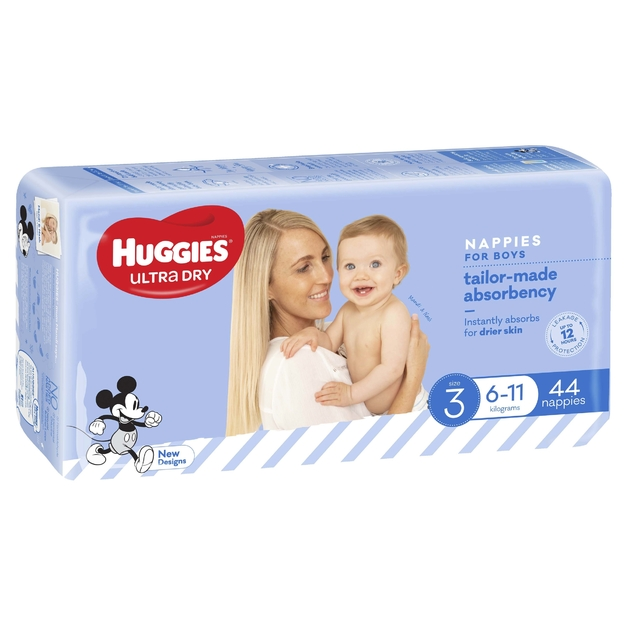 Huggies Ultra Dry Nappies Bulk - Size 3 Crawler Boy (44)
