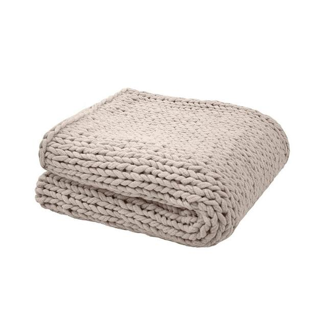 Bambury Chunky Knit Throw (Pebble)