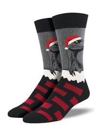 Socksmith: Mens Raptor Claus Christmas Crew Socks - Heather Gray