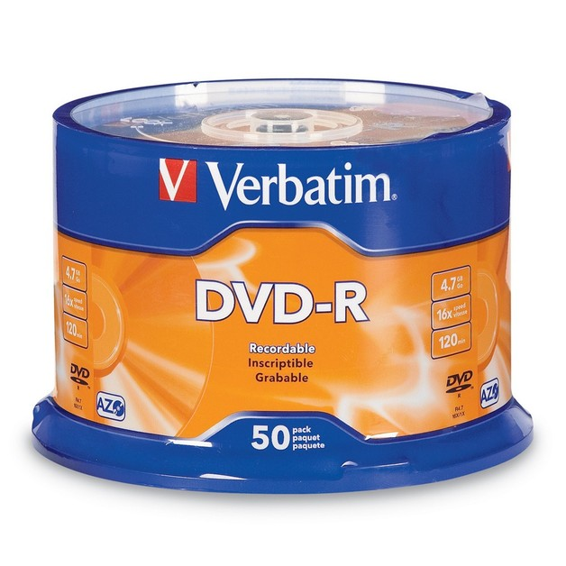 Verbatim DVD-R 4.7GB Spindle 16x (50 Pack)