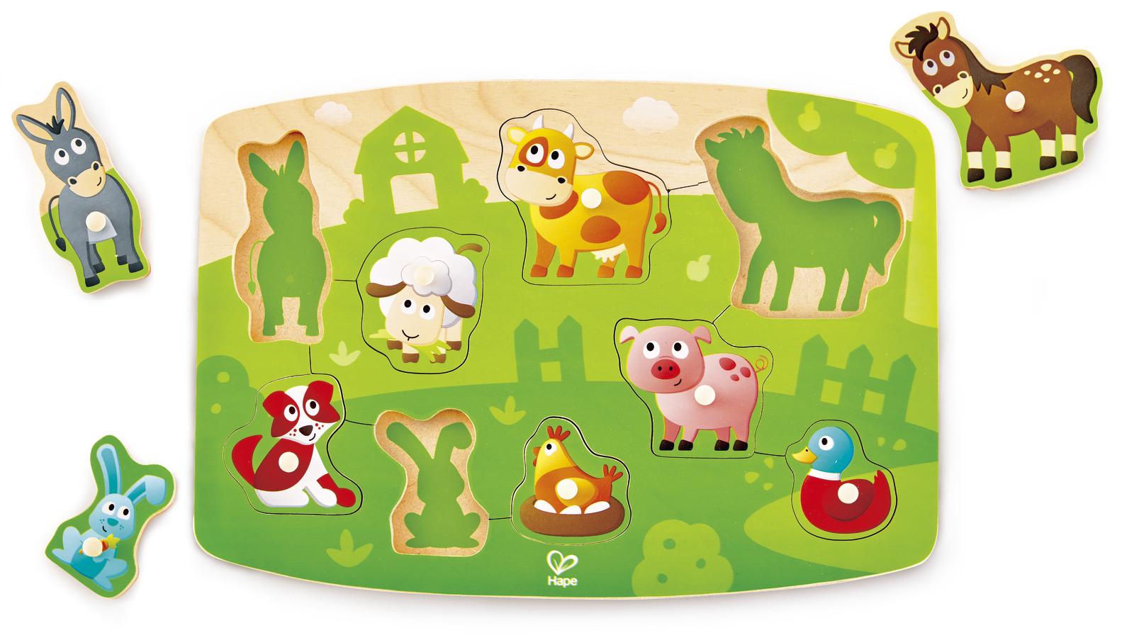 Hape: Farm Animals Peg Puzzle image
