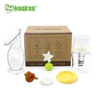 Haakaa: New Mum Premium Pack with 150ml Breast Pump, Glass Bottle, White Flower Stopper