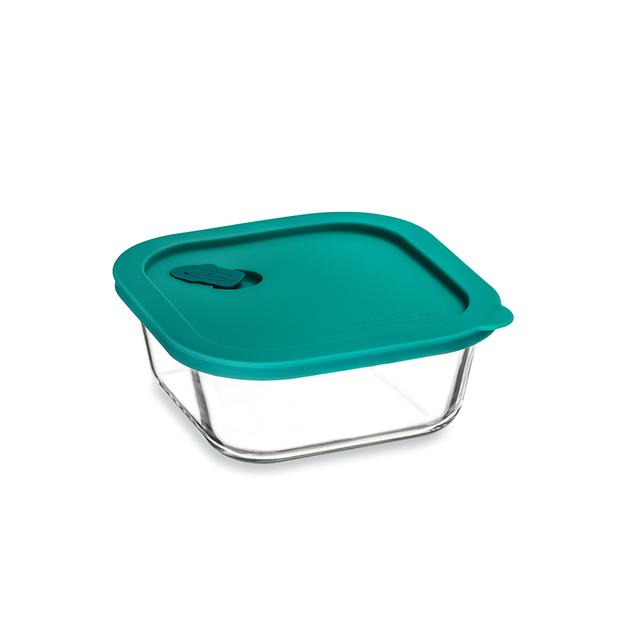 ClickClack: Cook+ Square Glass Container - Teal (0.8L/0.8qt)