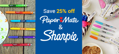 25% off Paper Mate & Sharpie!