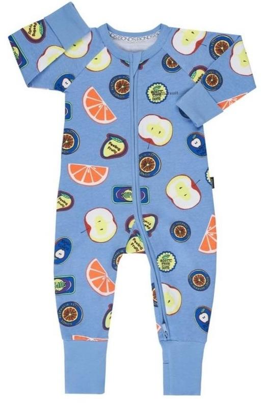 Bonds: Zip Wondersuit - Blue Fruit Sticker (Size 1)