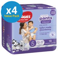 Huggies Ultra Dry Nappy Pants Convenience Value Box - Size 5 Boy 12-17 kg (72)