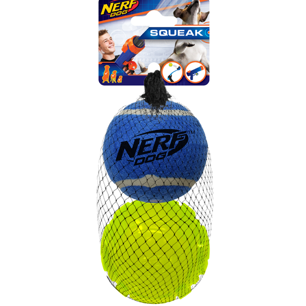 Nerf Dog Sonic Ball & Squeak Tennis Ball 2pk