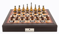 "Dal Rossi: Saunton Metal/Wood - 18"" Chess Set (PU Brown)"