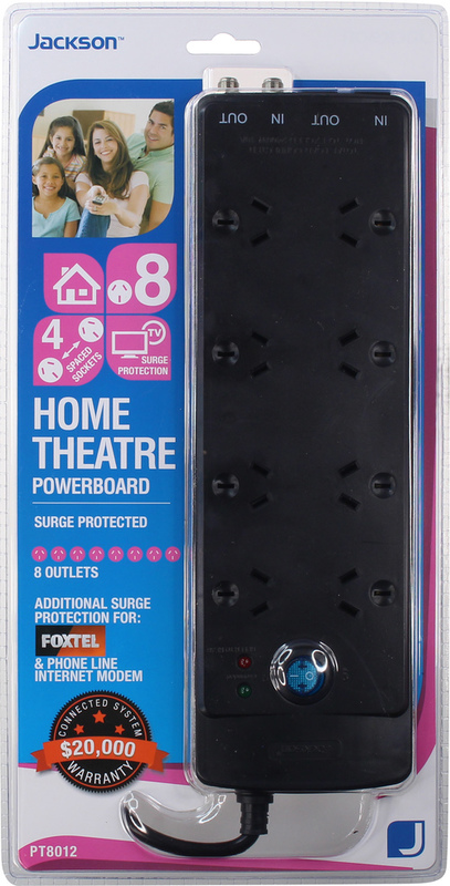 Jackson: 8-Way Power Board with Surge & Overload Protection with Telephone and TV Line Protection