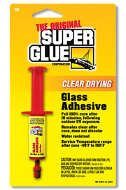 Dries Clear Glass Adhesive