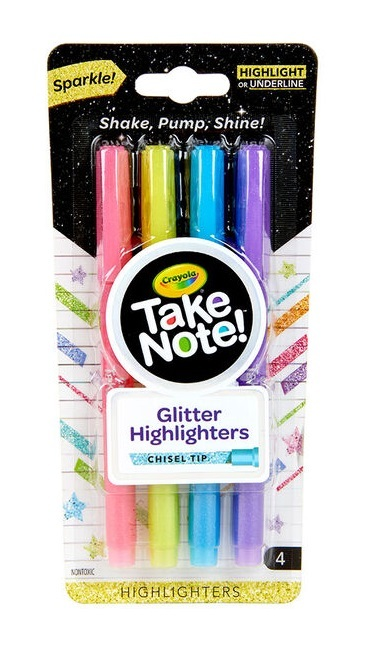 Crayola: Take Note - Glitter Highlighters (4-Pack)