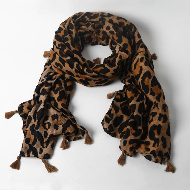 Adorne: Tassel Edge Leopard Scarf