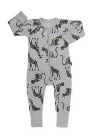 Bonds Ribby Zippy Wondersuit - Animal Party New Grey Marle (Newborn)