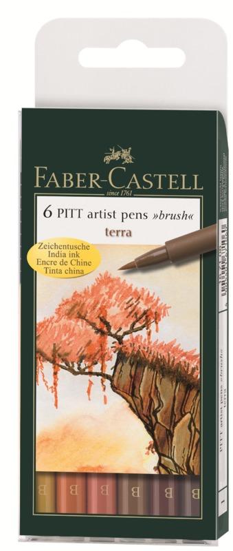 Faber-Castell: Pitt Artist Pens B Terra (Wallet of 6)
