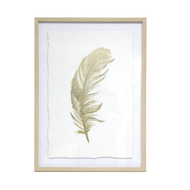 Splosh: Tranquil Gold Feather Framed Art