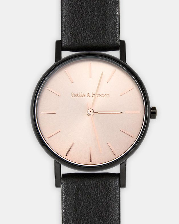 Belle and Bloom: Lafayette Love Classic Watch - Black / Rose Gold