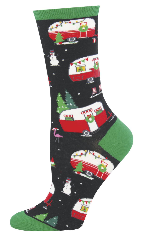 Women's Christmas Campers Crew Socks - Black image