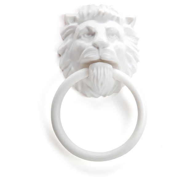 Monkey Business Lion's Head Magnetic Towel Holder (White)