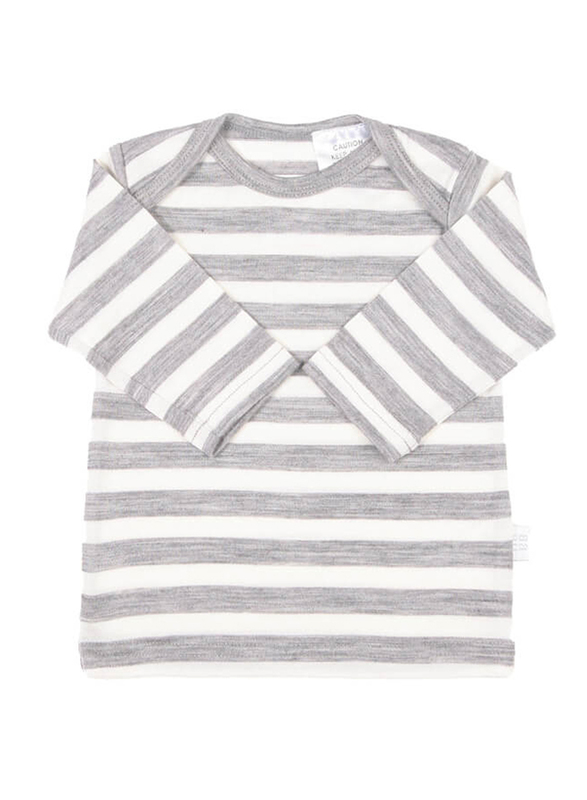 Babu: Merino Envelope Neck Long Sleeved Shirt - Grey Stripe (6-12m)