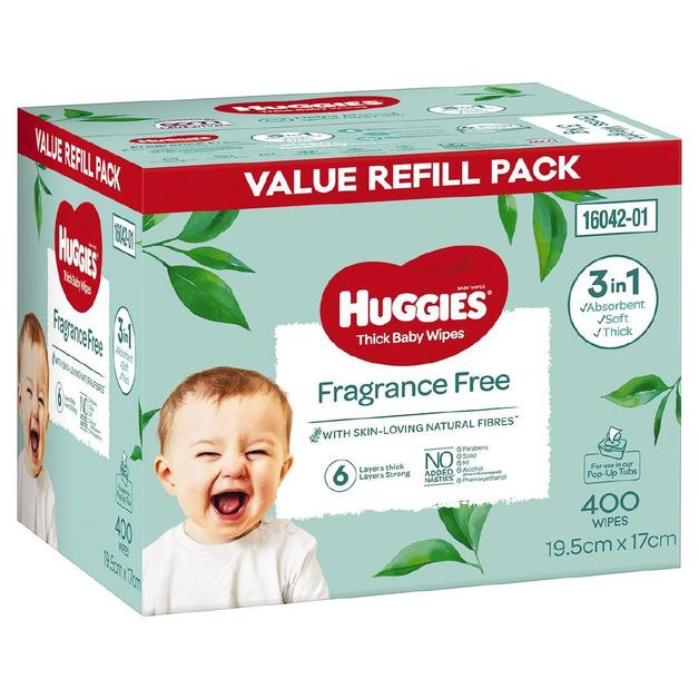 Huggies: Thick Baby Wipes - Fragrance Free (400 Pack)