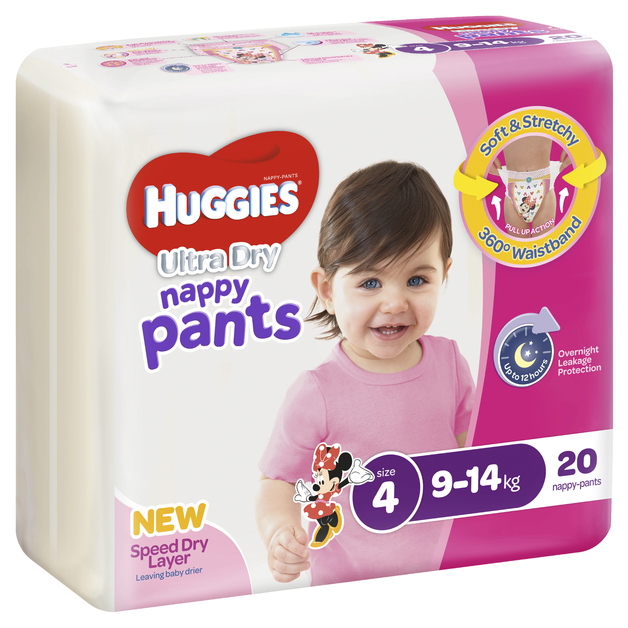 Huggies Ultra Dry Nappy Pants - Size 4 Toddler Girl (20)