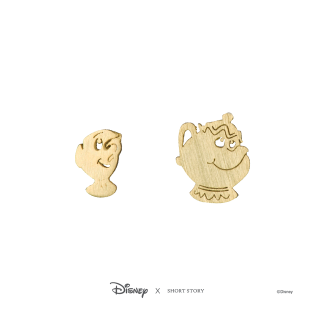 Short Story: Disney Earring Belle Mrs Potts and Chip - Gold