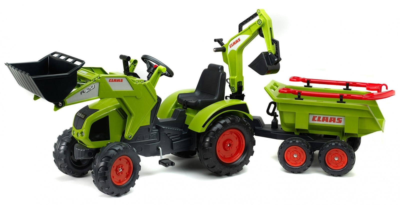 Falk: Claas Pedal Tractor - With Excavator, Trailer & Tools image