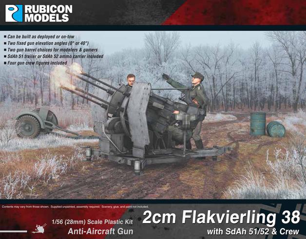 Rubicon 2cm Flakvierling 38 with SdAh 51/52 Trailer & Crew
