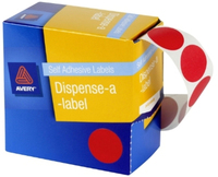 Avery Red 24mm Diameter Circle Dispenser Labels Pkt500