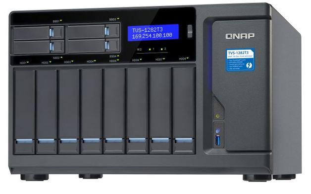 QNAP TVS-1282T3-i7-64G NAS,8+4+2xM.2 SLOT(NO DISK),64GB,I7-7700,THUNDERBOLT3,GbE(4),TWR,2Y