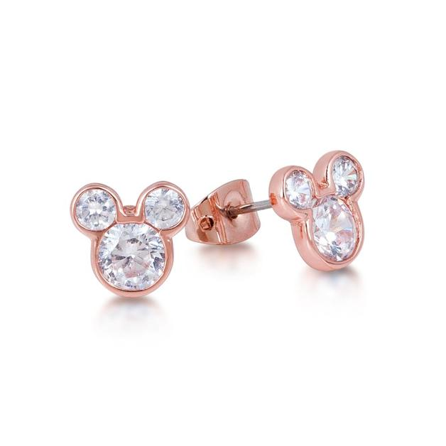 Couture Kingdom: Disney Crystal Mickey Head Stud Earrings- Rose Gold