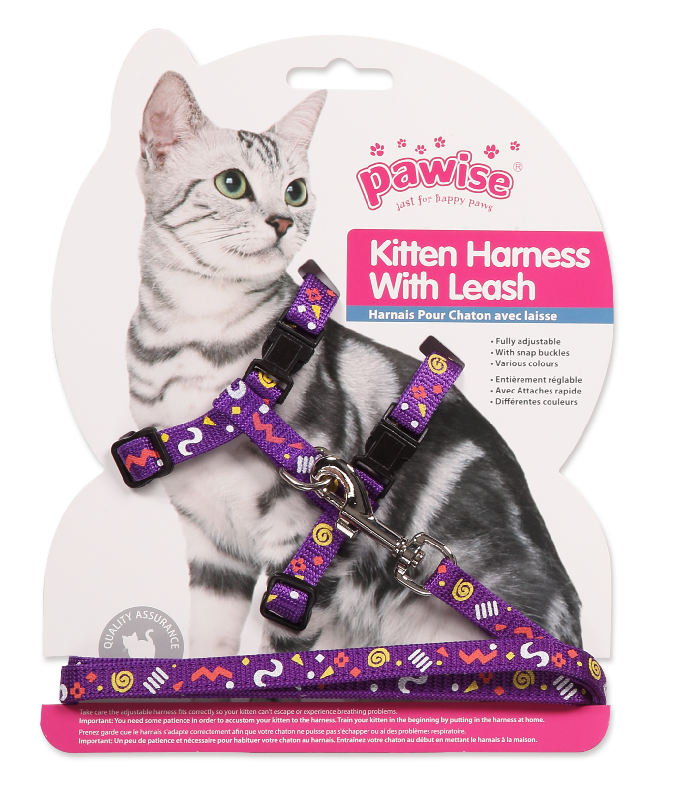 Pawise: Kitten Harness with 1.2 Leash - Pink/Purple image