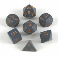 Chessex Opaque Polyhedral Dice Set - Dark Grey/Copper