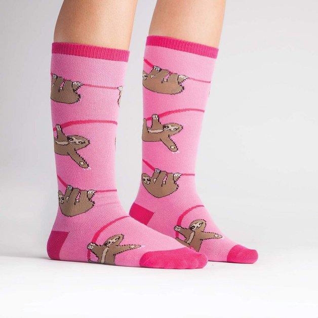 Sock It to Me: Junior Knee - Pink Sloth (Age 7-10)