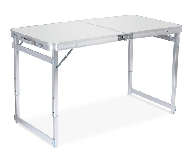 Outdoor Camping - Height Adjustable Folding Table (White)