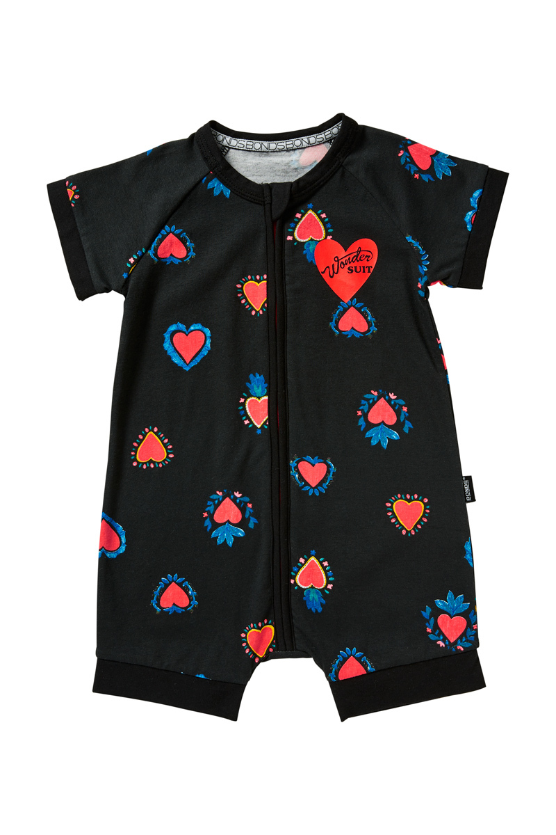 Bonds Zip Wondersuit Romper - Heart of Hearts Black (12-18 Months) image