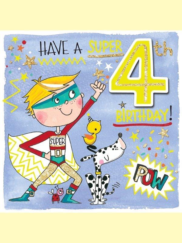Rachel Ellen: Happy Birthday Super Age 4 Card