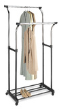 Whitmor: Chrome Double Garment Rack with Wheels