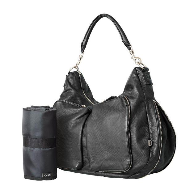 Oi Oi: Hobo Nappy Bag Slouch Faux Lizard - Black