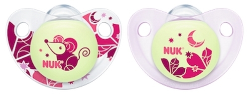 NUK: Glow in the Dark Soother - 18+ Months (2 Pack) - Pink image