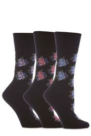 Women's Gentle Grip HoneyComb Top  Non Elastic Socks - Black (3 Pack)