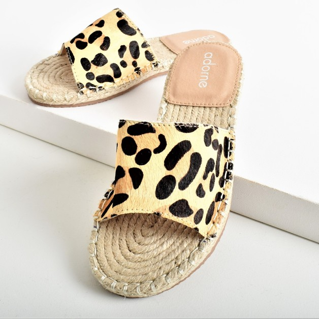 Adorne: Sienna Hide Espadrille Slide Leopard - 36