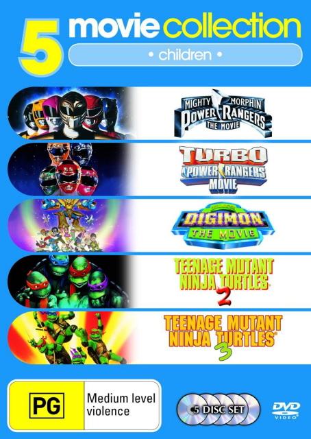 Mighty Morphin Power Rangers/Turbo Power Rangers/Digimon/TMNT 2/TMNT 3 (5 Disc Set) on DVD image